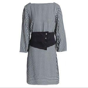 New TIBI checkered plaid belted corset dress 10